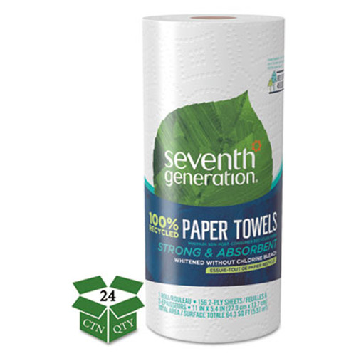 Seventh Generation 100% Recycled Paper Towel Rolls, 2-Ply, 11 x 5.4 Sheets, 156 Sheets/RL, 24 RL/CT (SEV 13722)