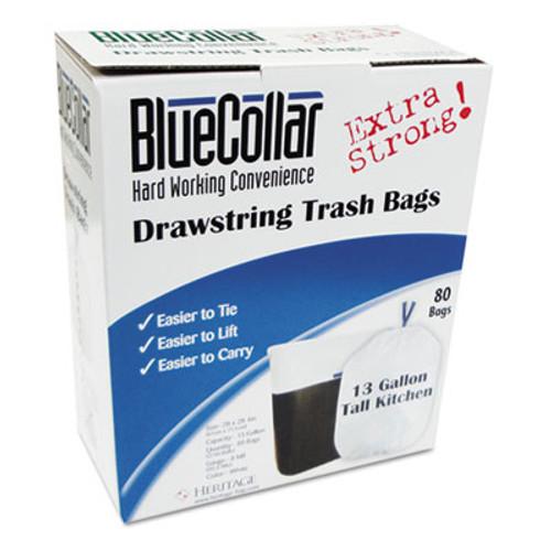BlueCollar Drawstring Trash Bags, 13gal, 0.8mil, 24 x 28, White, 80/Box (HERN4828EWRC1)
