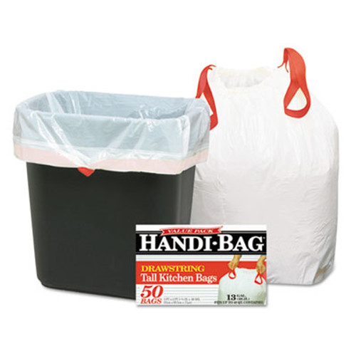 Handi-Bag Drawstring Kitchen Bags  13 gal  0 6 mil  24  x 27 38   White  50 Box (WEB HAB6DK50)