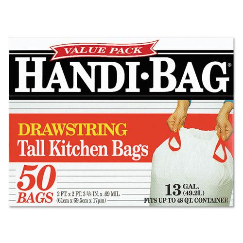 Handi-Bag Drawstring Kitchen Bags  13 gal  0 6 mil  24  x 27 38   White  50 Box (WEB HAB6DK50)