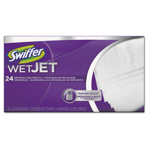 Swiffer WetJet System Refill Cloths  11 3  x 5 4   White  24 Box (PGC 08443CT)