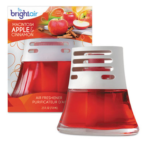 BRIGHT Air Scented Oil Air Freshener  Macintosh Apple and Cinnamon  Red  2 5 oz  6 Carton (BRI 900022CT)