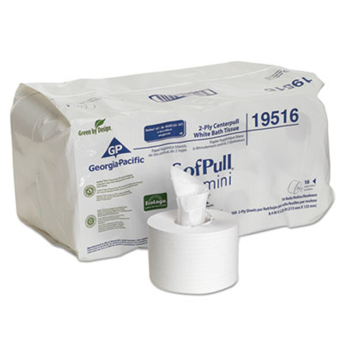 Georgia Pacific Professional SofPull Mini Centerpull Bath Tissue, 5 1/4 x 8 2/5, 500 Sheets, 16 Rolls/Carton (GPC 195-16)