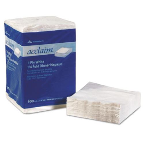 Georgia Pacific Professional AcclaimA   1 4 Fold Paper Dinner Napkins  White  1-Ply  16 x16   500 PK  8 PK CT (GPC 362-02)