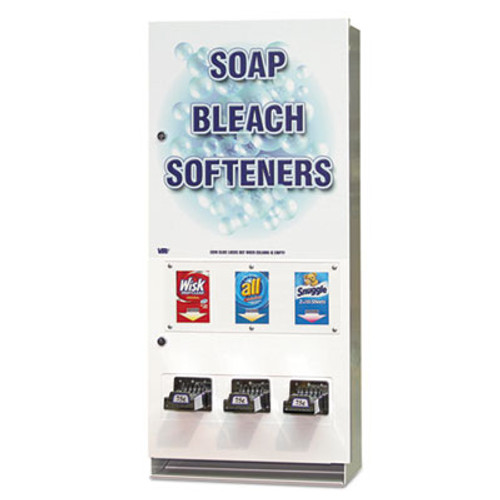 Vend-Rite Coin-Operated Soap Vender  3-Column  16 25  x 37 75  x 9 5   White Blue (VEN 394-100)