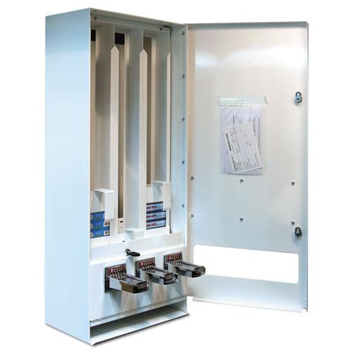 Vend-Rite Coin-Operated Soap Vender  3-Column  16 25  x 37 75  x 9 5   White Blue (VEN 394-100)