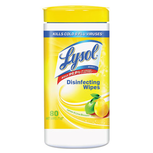 LYSOL Brand Disinfecting Wipes  7 x 8  Lemon and Lime Blossom  80 Wipes Canister  6 Canisters Carton (RAC77182CT)