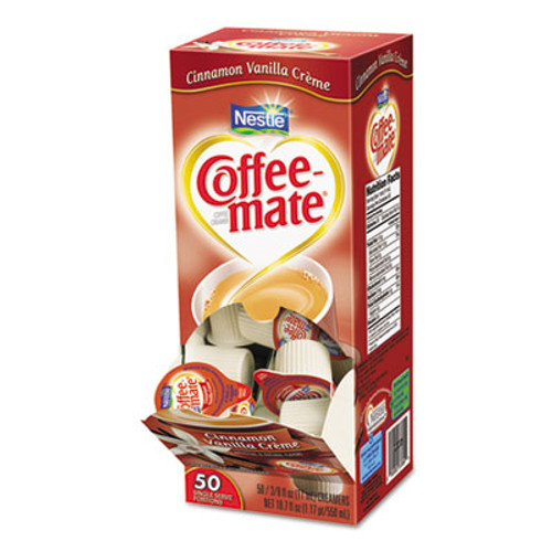 Coffee-mate Liquid Coffee Creamer, Cinnamon Vanilla, 0.375 oz Mini Cups, 50/Bx, 4 Box/Carton (NES 42498)