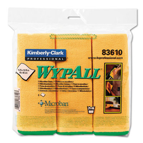 WypAll Microfiber Cloths  Reusable  15 3 4 x 15 3 4  Yellow  24 Carton (KCC 83610CT)