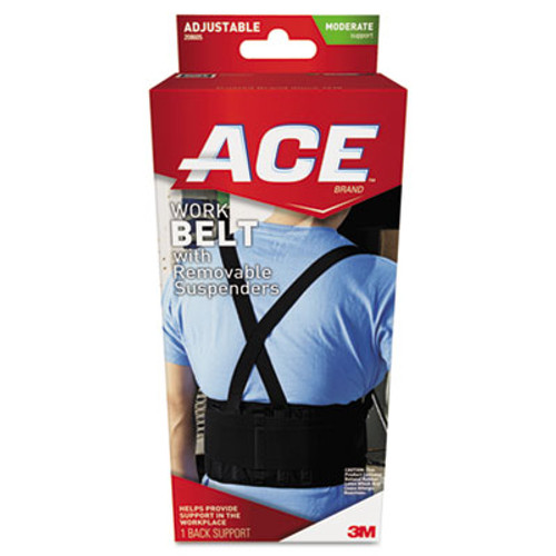 "ACE Work Belt with Removable Suspenders, Fits Waists Up To 48"", Black (MMM208605)"