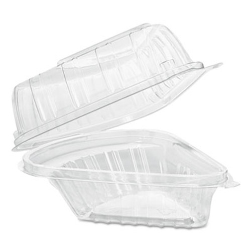 Dart Showtime Clear Hinged Containers  Pie Wedge  6 2 3 oz  Plastic  125 PK  2 PK CT (DCC C54HT1)