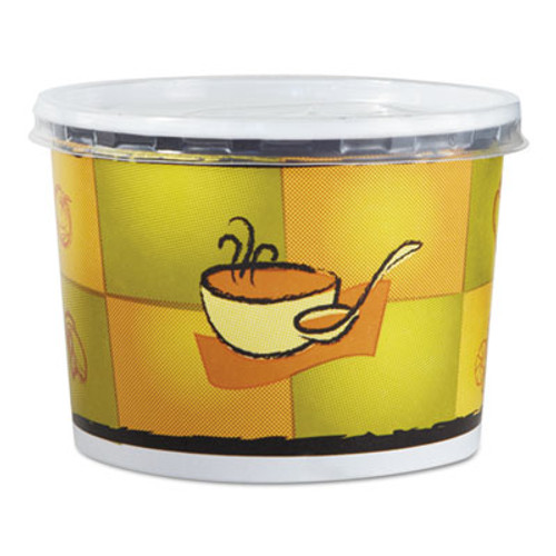 Chinet Streetside Squat Paper Food Container w  Lid  Streetside Design  12oz  250 CT (HUH 70412)