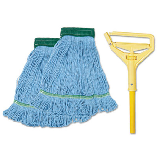 Boardwalk Looped-End Mop Kit  Medium  60  Metal Polypropylene Handle  Blue Yellow (BWK 400MB-C)