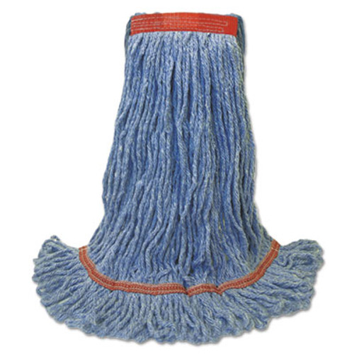 Boardwalk Super Loop Wet Mop Head  Cotton Synthetic Fiber  1  Headband  Large Size  Blue  12 Carton (BWK 503BLNB)