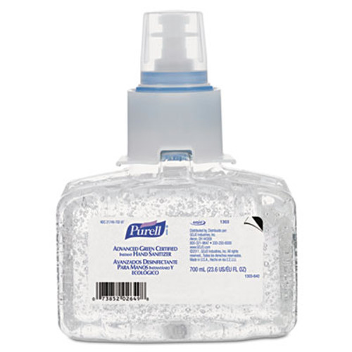 PURELL Advanced Hand Sanitizer Green Certified Gel Refill  700 mL  Fragrance-Free  3 Carton (GOJ130303CT)