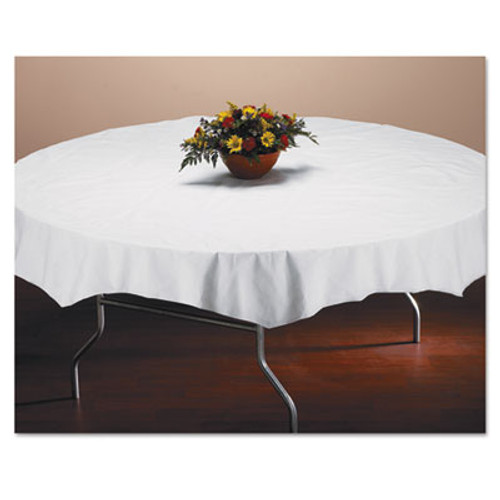 "Hoffmaster Tissue/Poly Tablecovers, 82"" Diameter, White, 25/Carton (HFM 210101)"