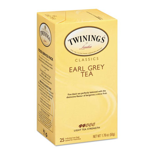 TWININGS Tea Bags, Earl Grey, 1.76 oz, 25/Box (TWG09183)