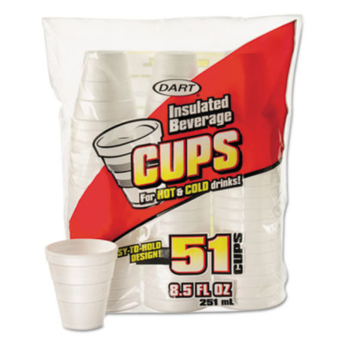 Dart Drink Foam Cups, 8.5 oz, White, 51/Bag, 24 Bags/Carton (DCC 8RP51)