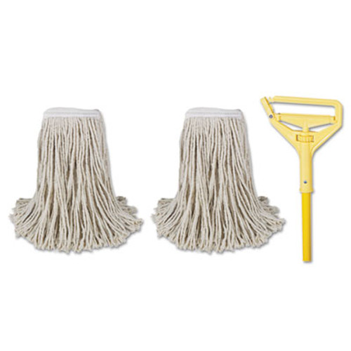 Boardwalk Cut-End Mop Kits   24  Natural  60  Metal Plastic Handle  Yellow (BWK 5324-C)