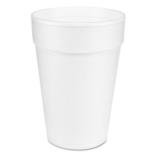 Dart Large Foam Drink Cup  14 oz  Hot Cold  White  25 Bag  40 Bags Carton (DCC 14J12)