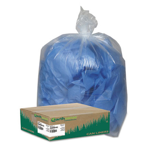 Earthsense Commercial Linear Low Density Clear Recycled Can Liners  60 gal  1 5 mil  38  x 58   Clear  100 Carton (WEB RNW5815C)