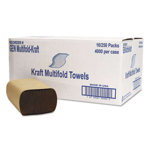 General Supply Multifold Towel, 1-Ply, Brown, 250/Pack, 16 Packs/Carton (GEN MFLD KFT)
