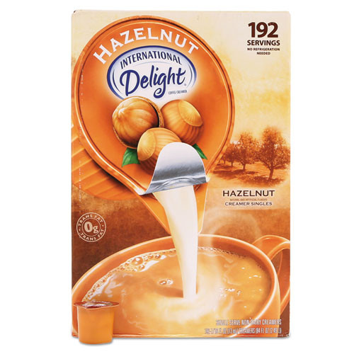 International Delight Flavored Liquid Non-Dairy Coffee Creamer  Hazelnut  0 4375 oz Cups  192 Cups CT (ITD827965)