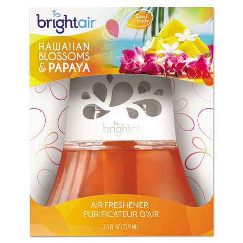 BRIGHT Air Scented Oil Air Freshener  Hawaiian Blossoms and Papaya  Orange  2 5 oz  6 Carton (BRI 900021CT)