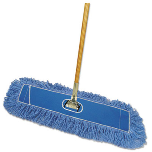 "Boardwalk Looped-End Dust Mop Kit, 36 x 5, 60"" Metal/Wood Handle, Blue/Natural (BWK HL365BSP-C)"