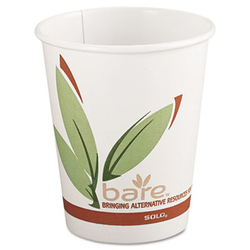 Dart Bare by Solo Eco-Forward Recycled Content PCF Paper Hot Cups  8 oz  1 000 Carton (SCC 378RC)