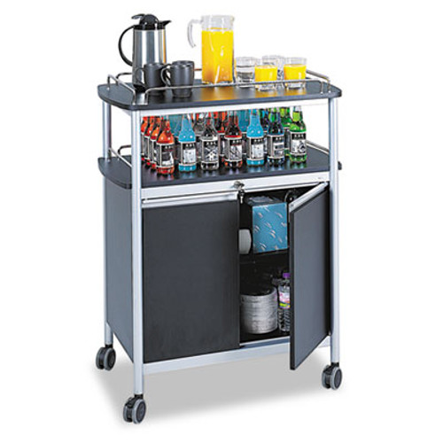 Safco Mobile Beverage Cart, 33-1/2w x 21-3/4d x 43h, Black (SAF8964BL)