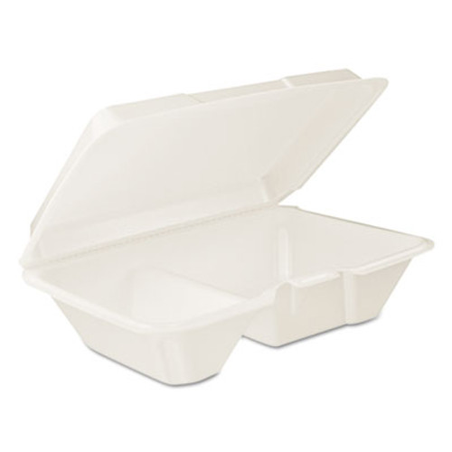 Dart Hinged Lid Carryout Container, White, 9 1/3 x 2 9/10 x 6 2/5, 100/BG, 2 BG/CT (DCC 205HT2)