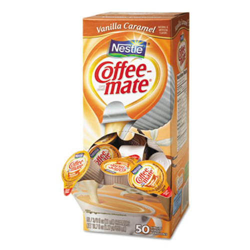 Coffee mate Liquid Coffee Creamer  Vanilla Caramel  0 38 oz Mini Cups  50 Box  4 Boxes Carton  200 Total Carton (NES 79129CT)