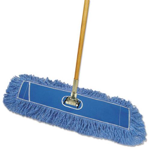 Boardwalk Looped-End Dust Mop Kit  24 x 5  60  Metal Wood Handle  Blue Natural (BWK HL245BSP-C)