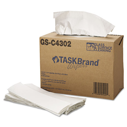 HOSPECO TASKBrand Glass   Surface Wipers  4Ply  9 75 x 16 75  White  150 Box  6 BX Ct (HOS GS-C4302)