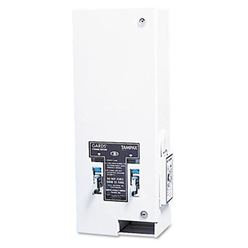 HOSPECO Dual Sanitary Napkin Tampon Dispenser  Coin  11 1 8 x 7 5 8 x 26 3 8  White (HOS125)