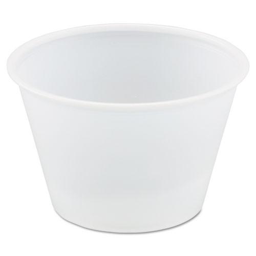 Dart Polystyrene Portion Cups  4oz  Translucent  250 Bag  10 Bags Carton (DCCP400N)