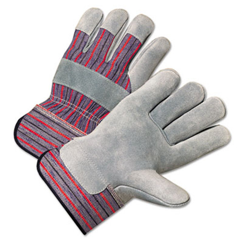 Anchor Brand 2000 Series Leather Palm Gloves  Gray Red  Large  12 Pairs (ANR2100)