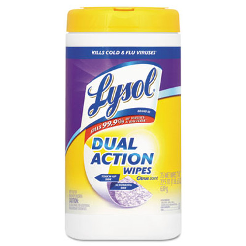 LYSOL Brand Dual Action Disinfecting Wipes, Citrus, 7 x 8, 75/Canister, 6/Carton (RAC81700CT)