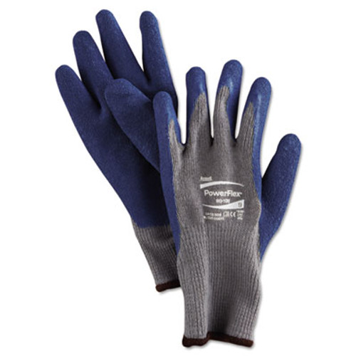 AnsellPro PowerFlex Gloves, Blue/Gray, Size 9, 12 Pairs (ANS801009PR)