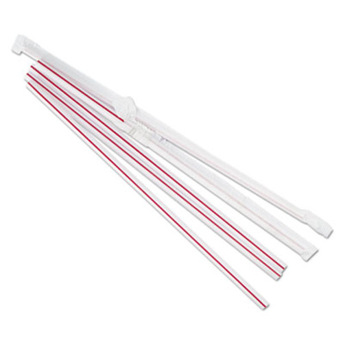 Boardwalk Wrapped Jumbo Straws  7 3 4   Plastic  Red w White Stripe  400 Pack  25 Packs CT (BWKJSTW775S24)