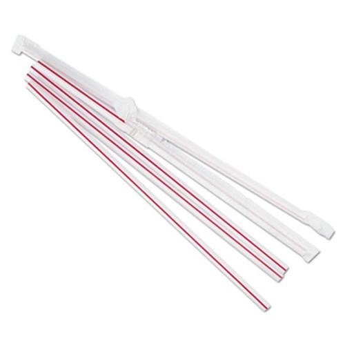 Boardwalk Wrapped Jumbo Straws  7 3 4   Plastic  Red w White Stripe  400 Pack  25 Packs CT (BWKJSTW775S24)