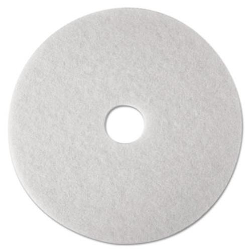 3M Low-Speed Super Polishing Floor Pads 4100, 14-Inch, White, 5/Carton (MMM08478)