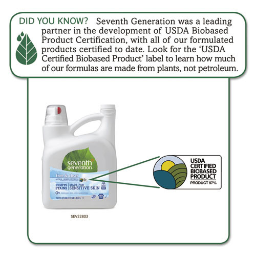 Seventh Generation Natural 2X Concentrate Liquid Laundry Detergent  Free Clear  99 Loads 150oz 4 CT (SEV22803CT)