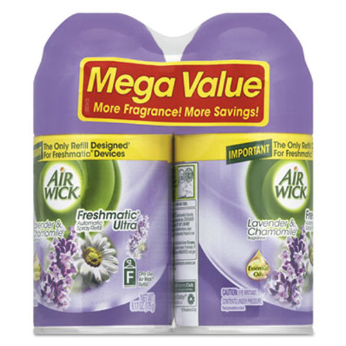 Air Wick Freshmatic Ultra Spray Refill  Lavender Chamomile  Aerosol  5 89oz  2 Pack  3 Packs Carton (RAC85595)
