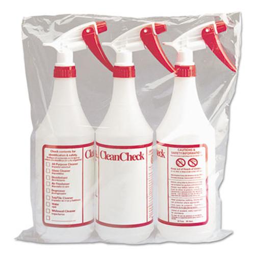 Boardwalk Trigger Spray Bottle  32 oz  Clear Red  HDPE  3 Pack (BWK03010)