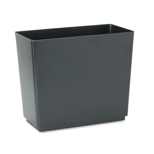 Rubbermaid Commercial Designer 2 Wastebasket, Rectangular, Plastic, 6.5gal, Black, 6/Carton (RCP25051CT)