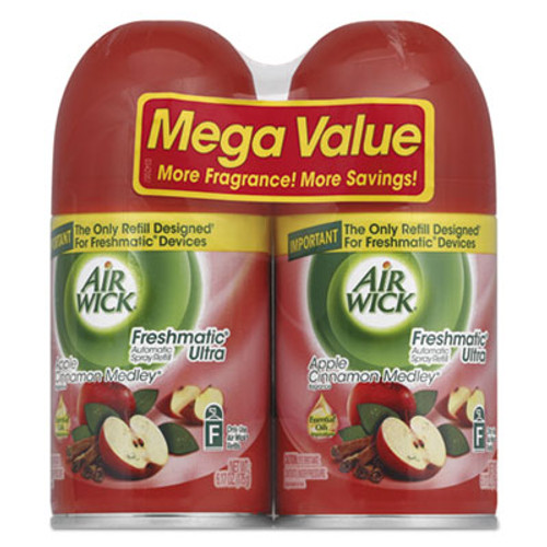 Air Wick Freshmatic Ultra Spray Refill  Apple Cinnamon Medley  Aerosol  5 89 oz  2 Pack  3 Packs Carton (RAC82680)