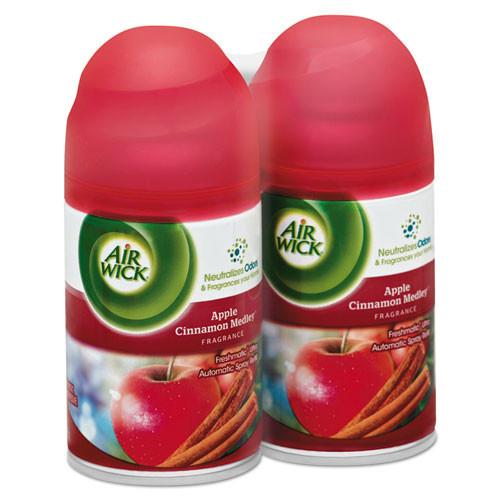 Air Wick Freshmatic Ultra Spray Refill  Apple Cinnamon Medley  Aerosol  5 89 oz  2 Pack  3 Packs Carton (RAC82680)