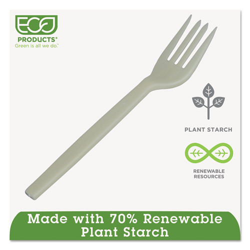 Eco-Products Plant Starch Fork - 7   50 Pack  20 Pack Carton (ECOEPS002)